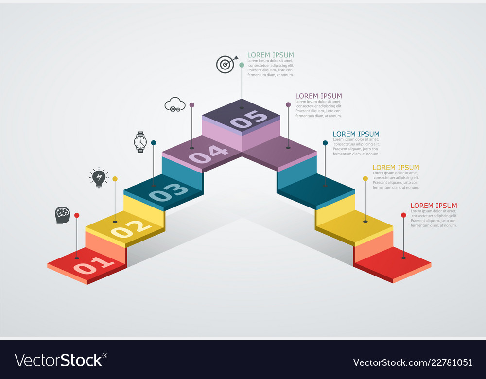 Infographic design template with step structure