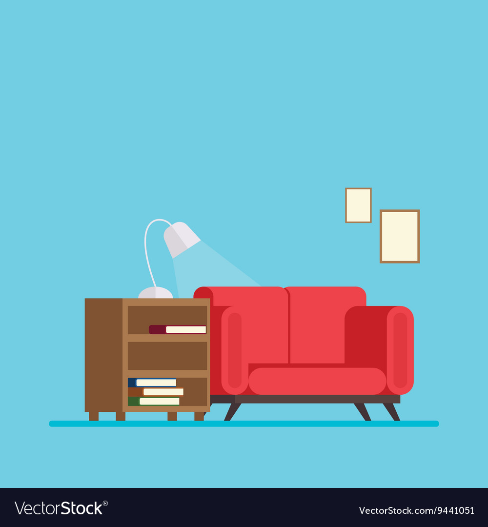 Living room with sofa bed and a bedside table book vector image