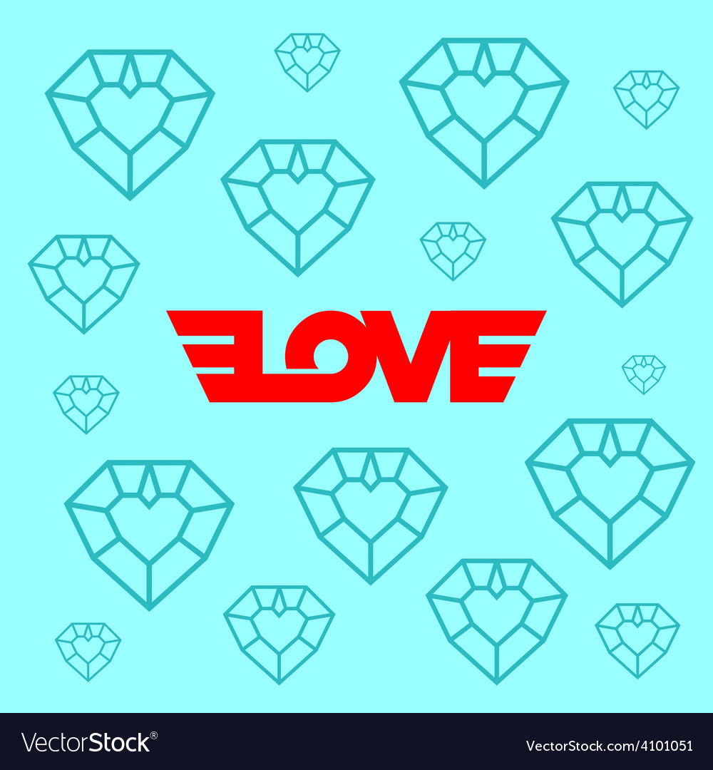 Love logotype with wings Background with diamond