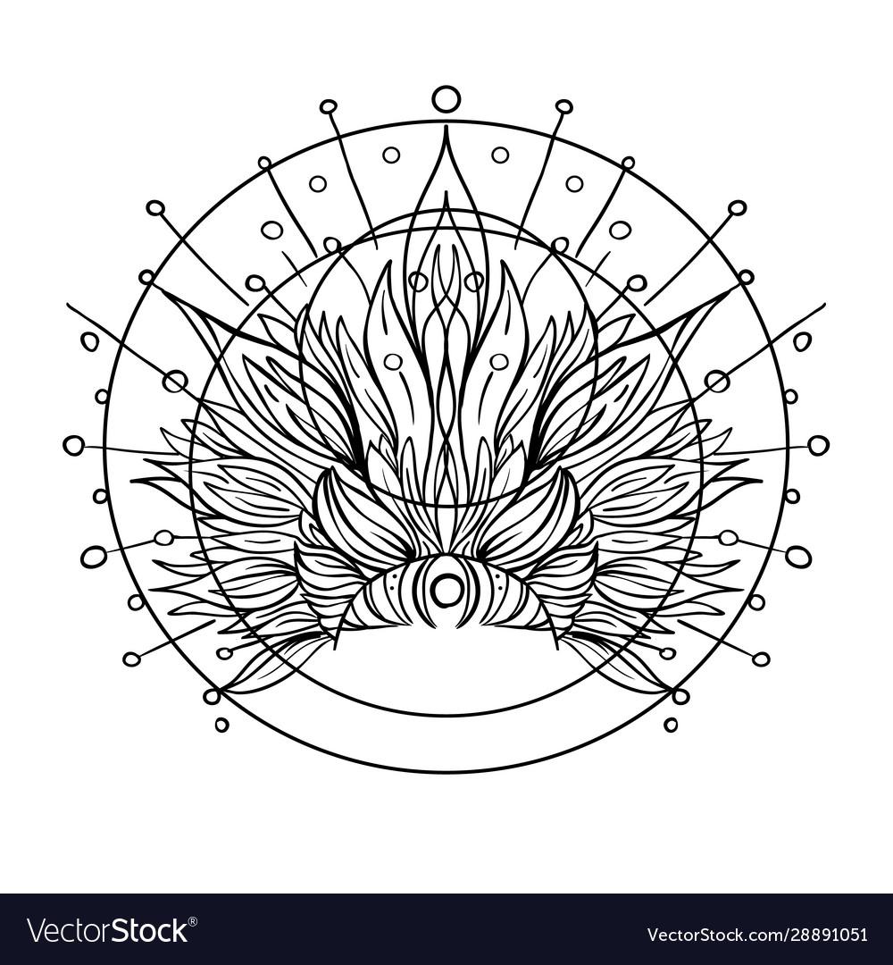 Ornate inked decorative mandala inspired element