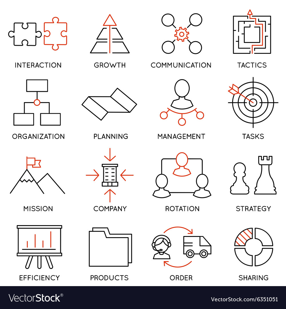 Set of icons related to business management - 1