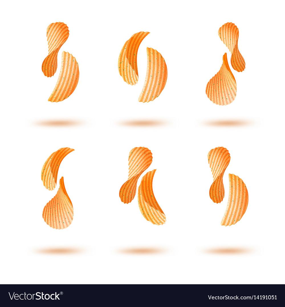 Set of potato chips on white background