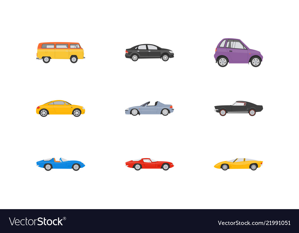 Transport vehicles flat icons