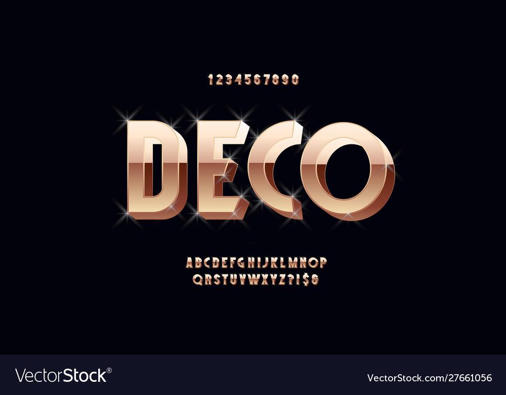Art deco 3d bold font vintage typography