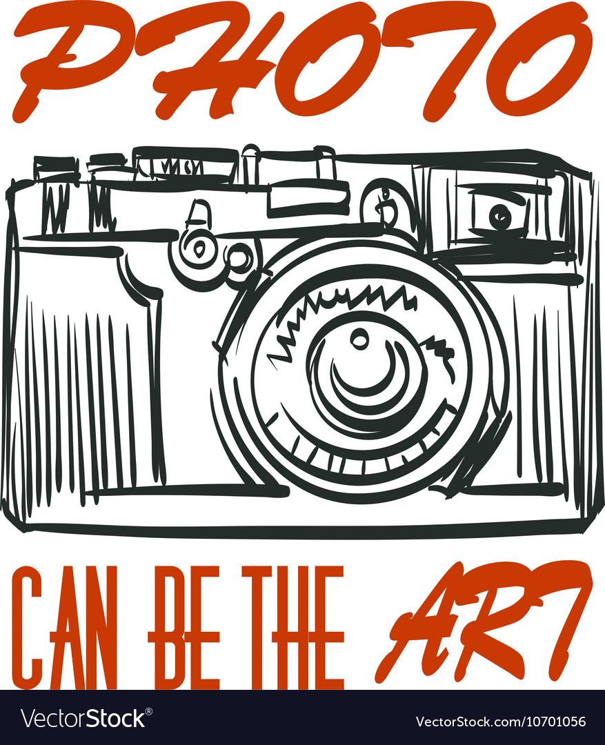 Art photocamera with signature Isolated