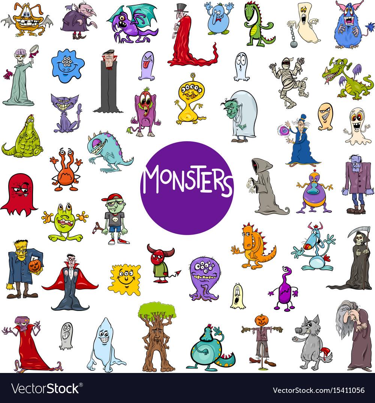 cartoon monster characters big set royalty free vector image