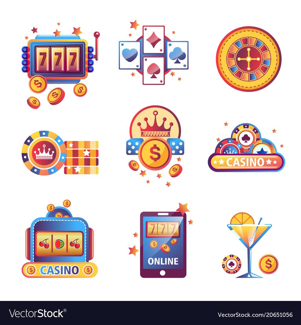 Casino poker gambling game icons