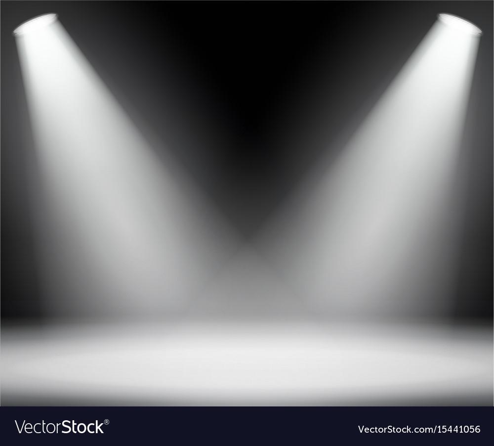 Dark background with spotlights light studio