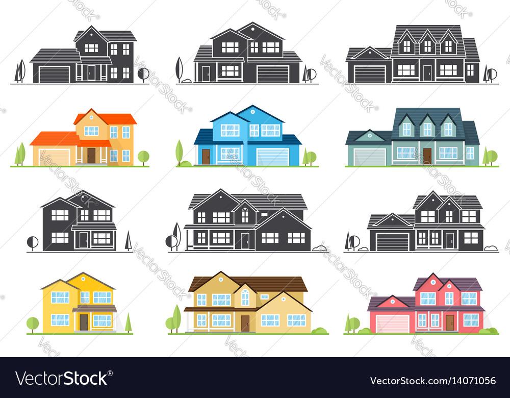 Flat icon suburban american house
