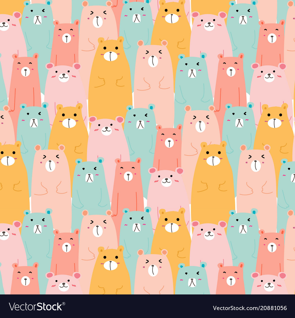 Hand drawn cute bears pattern background