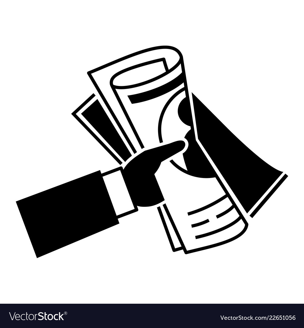 hand newspaper icon simple style royalty free vector image