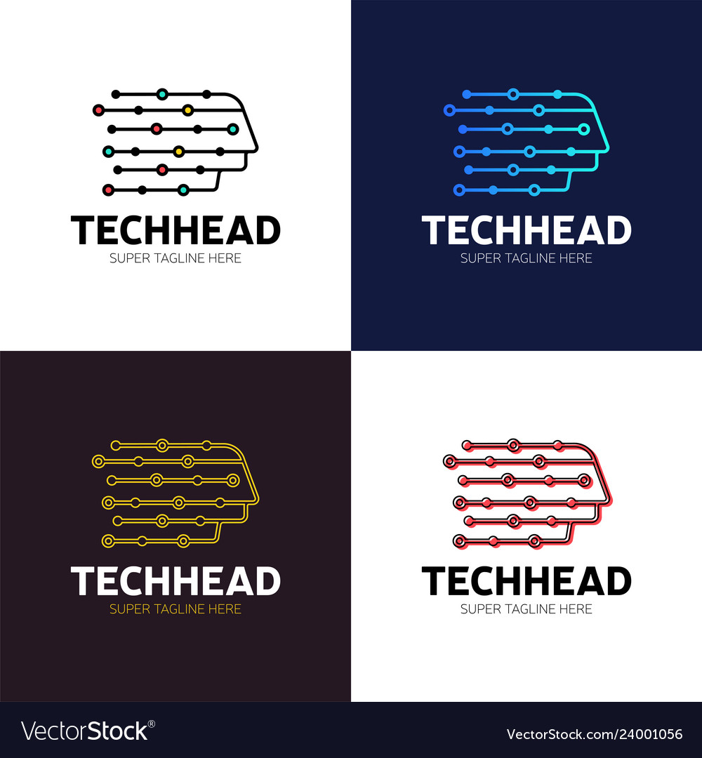 Head tech logo pixel head logo concept robotic