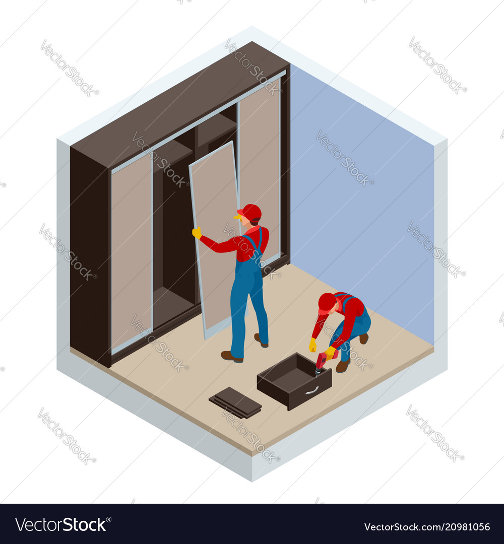 Isometric two carpenters workers joint and settle