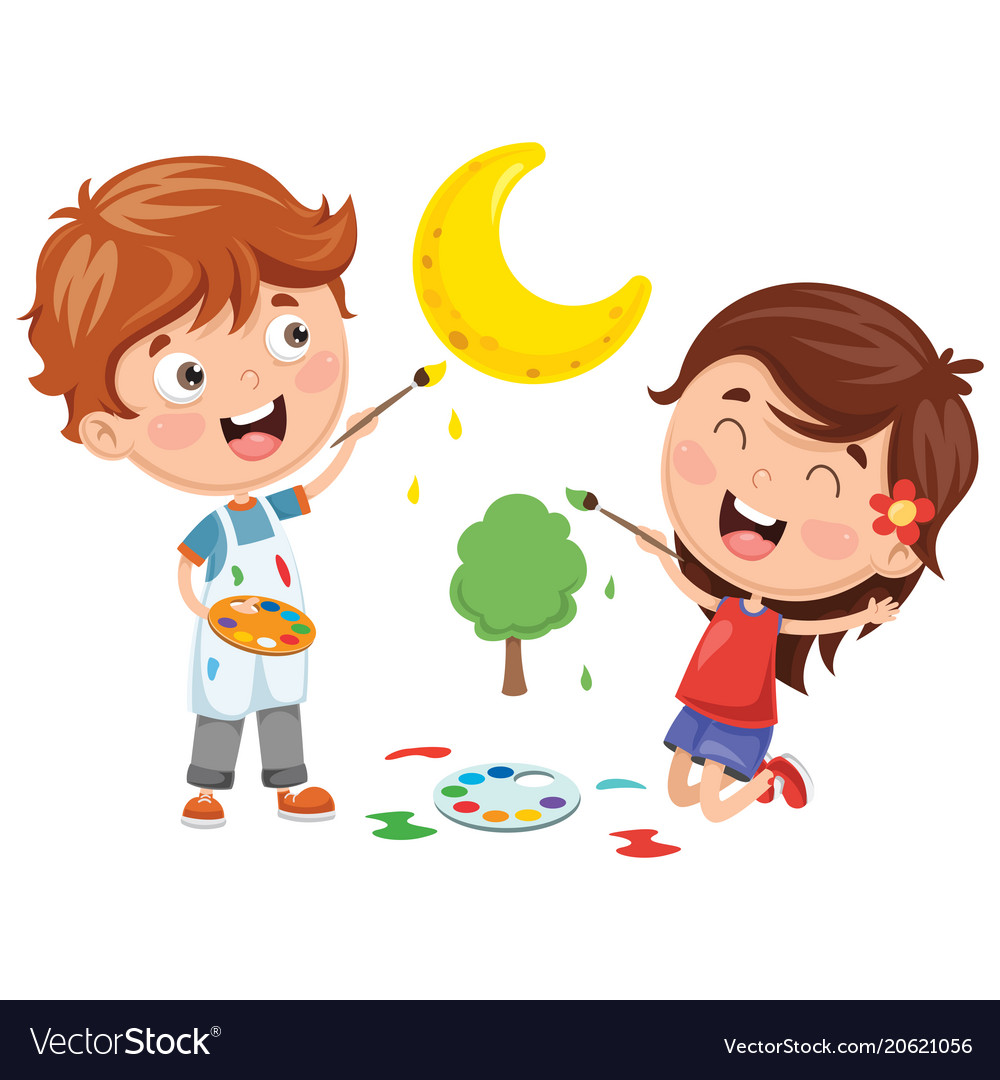 Kids painting Royalty Free Vector Image - VectorStock