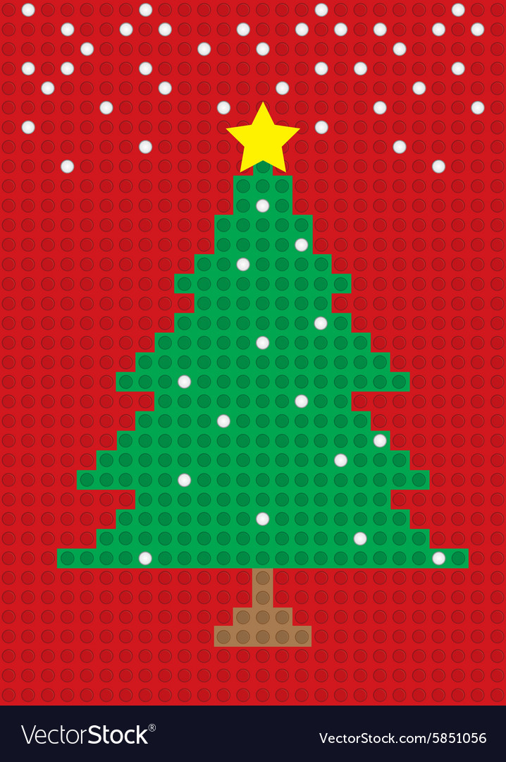 merry christmas tree postcard block pattern vector image - Merry Christmas Decorative Blocks