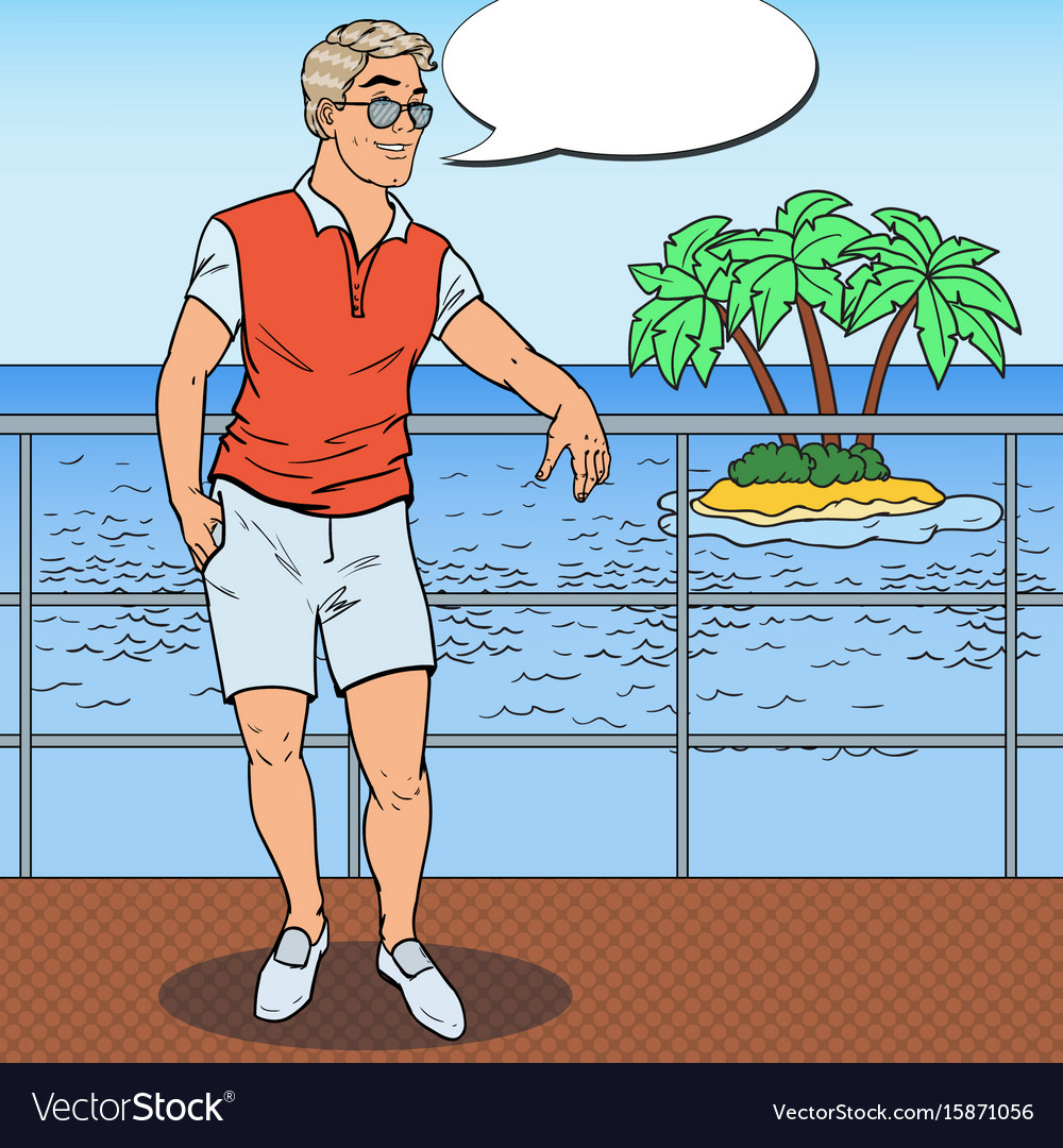 Pop art handsome man relaxing on private yacht