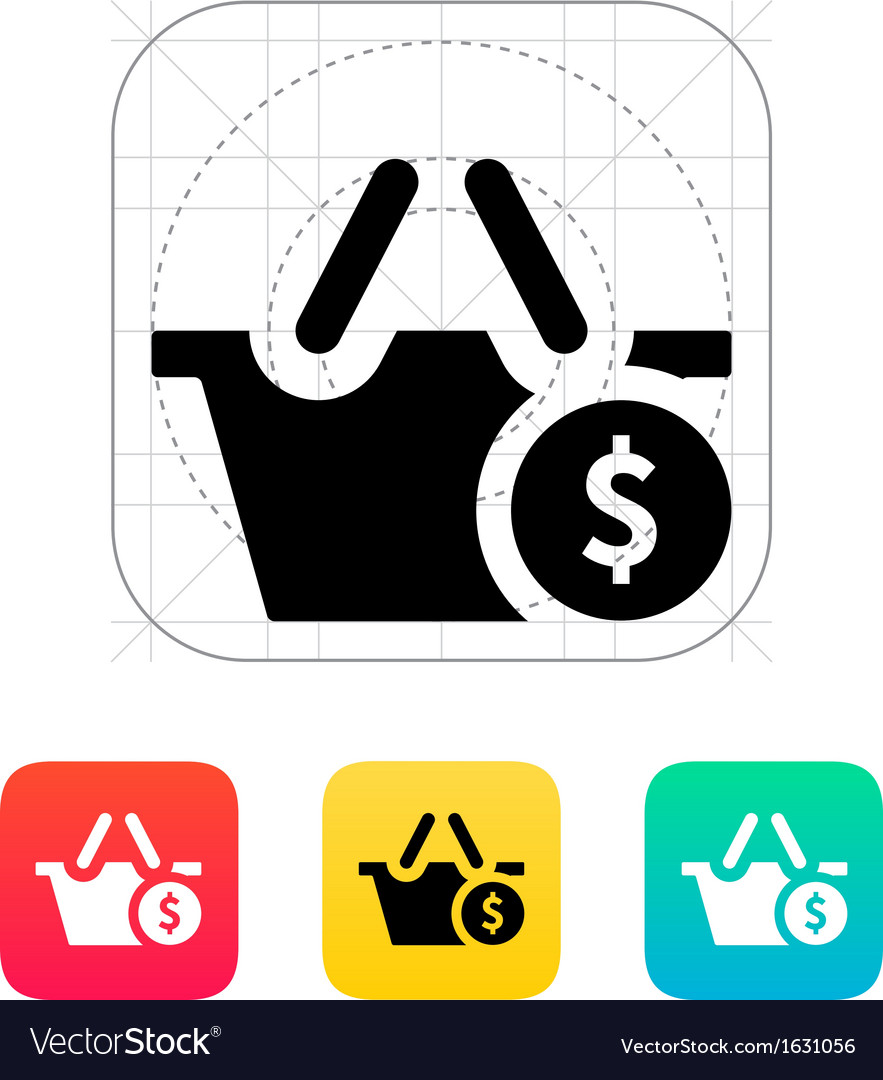 Shopping basket with dollar sign icon