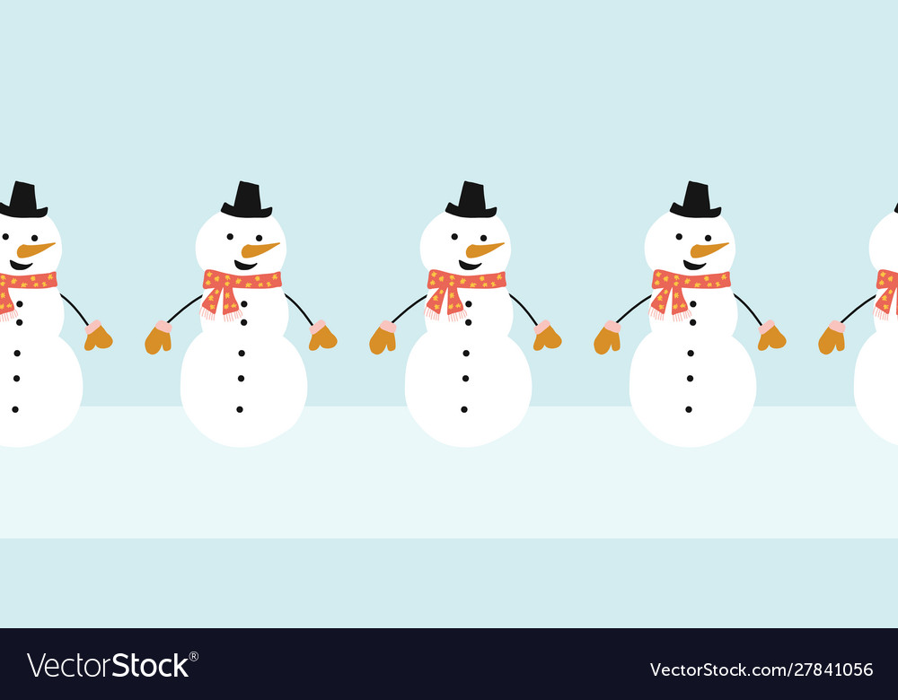 Snowman seamless border cute snowmen