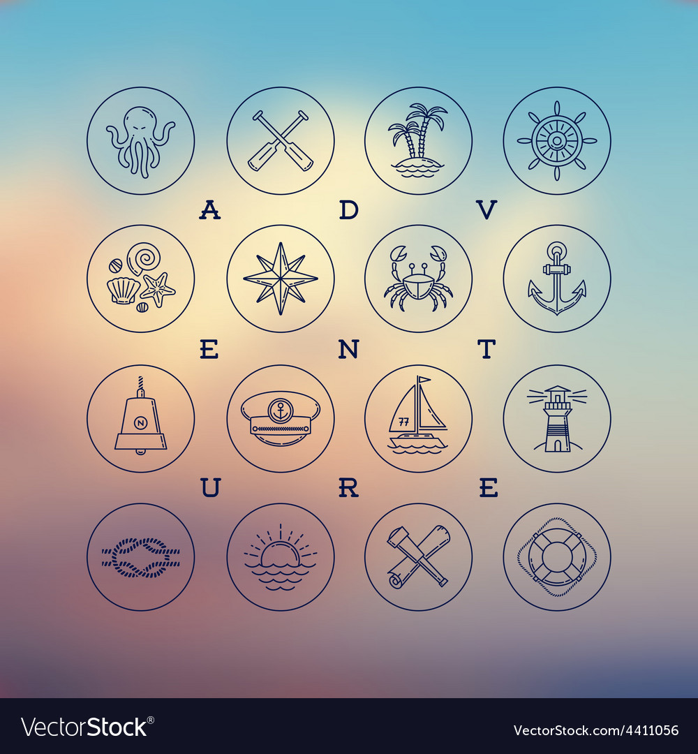 Travel adventures and nautical line drawing icons