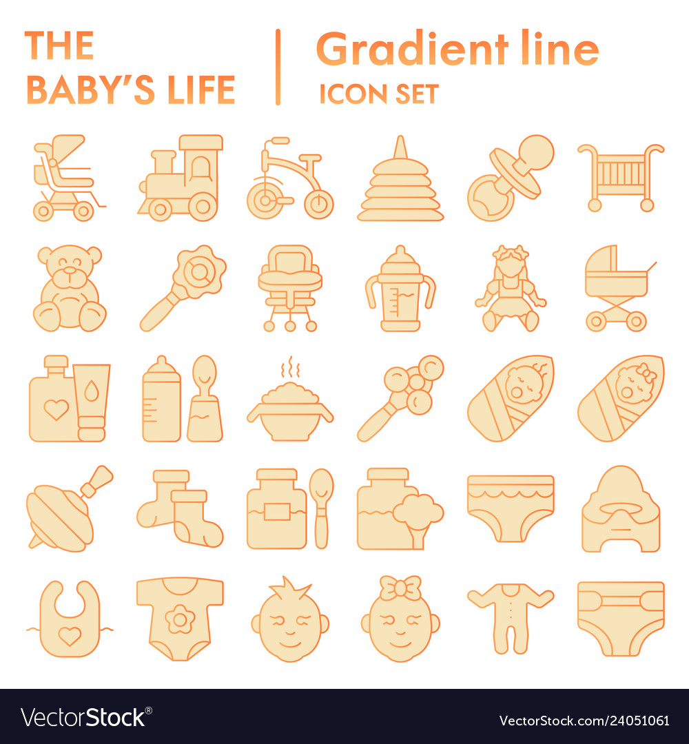 Baby life flat icon set newborn symbols