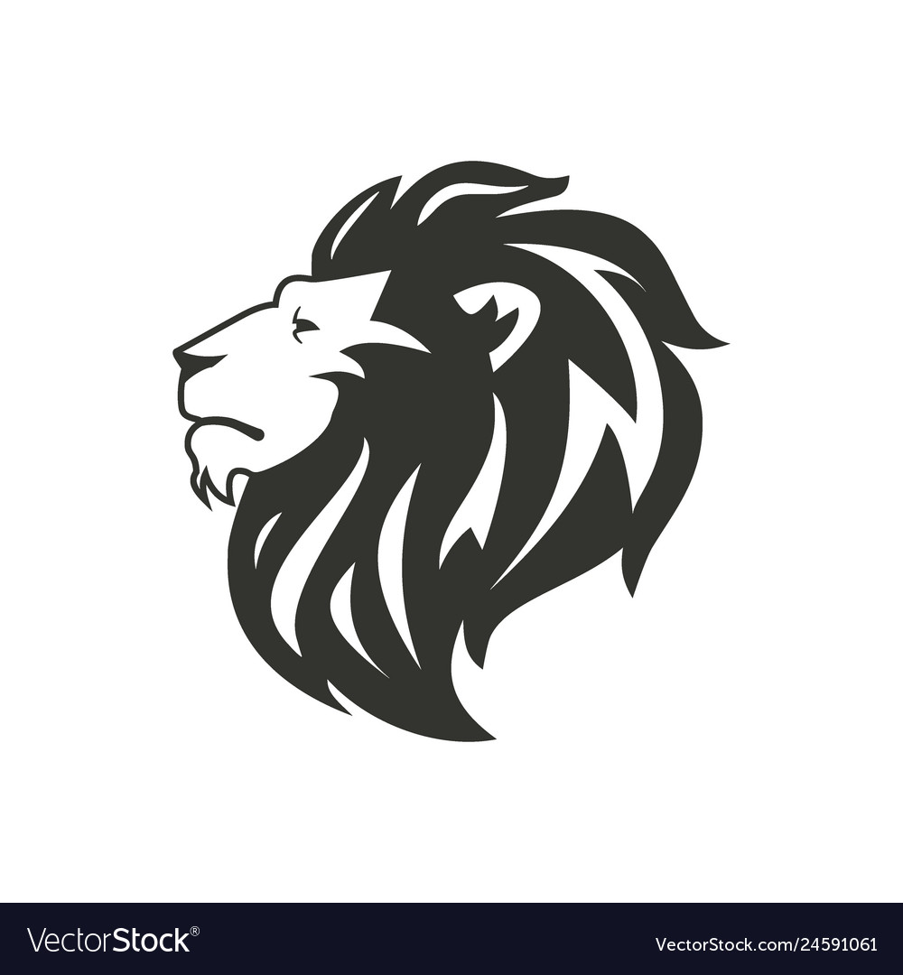 Black lion silhouette isolated on white background