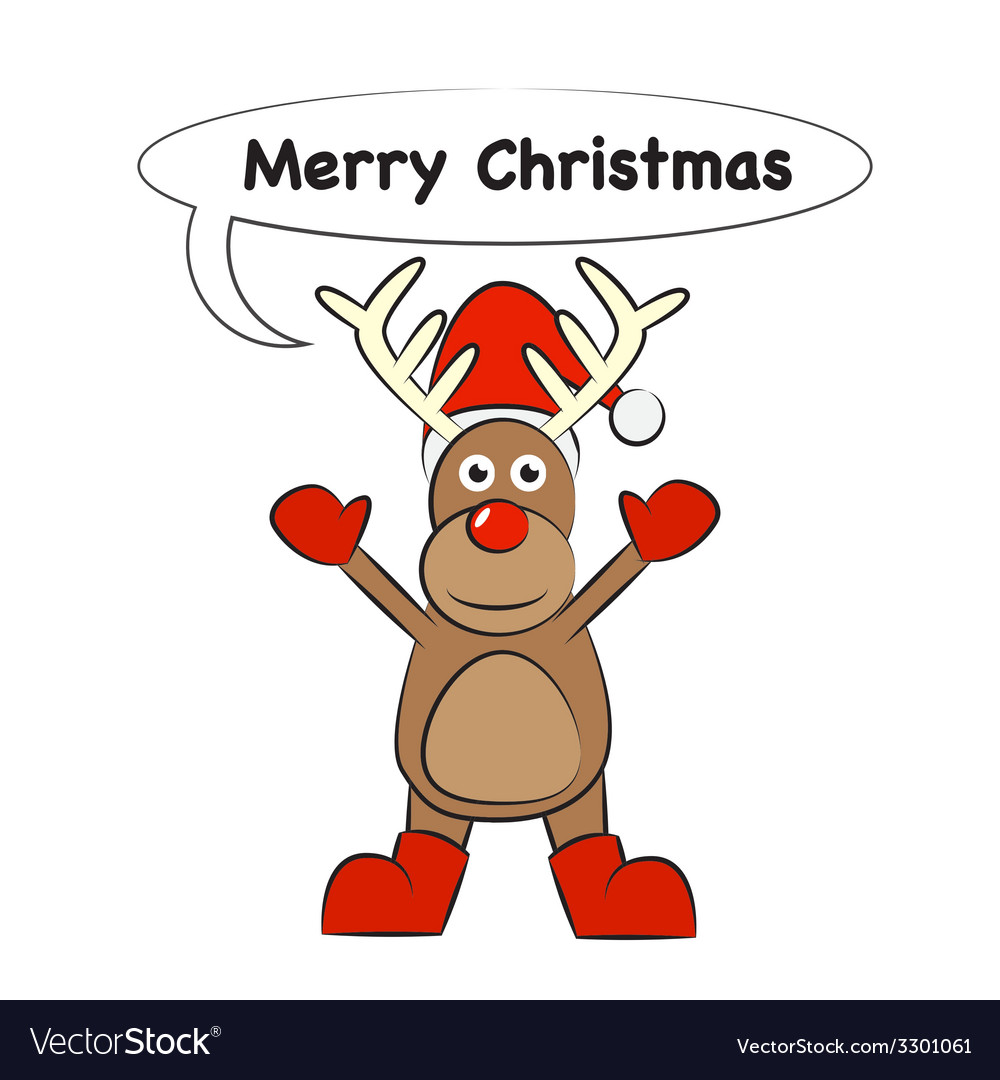 Christmas deer cartoon vector image