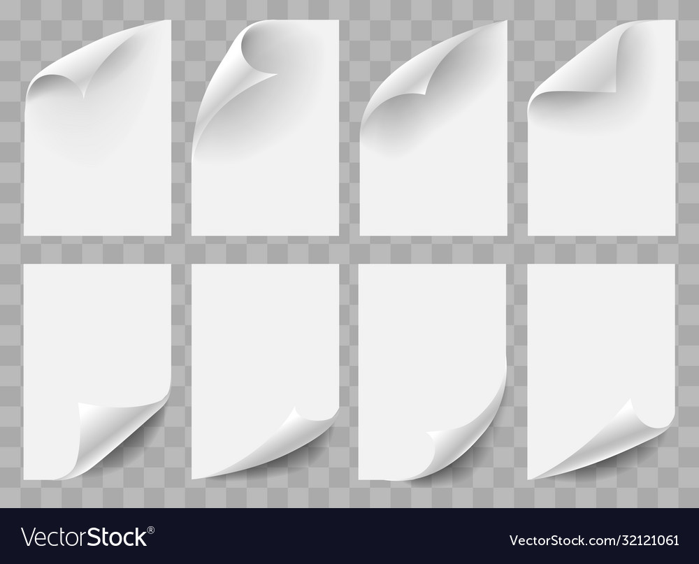 Curved empty paper sheets