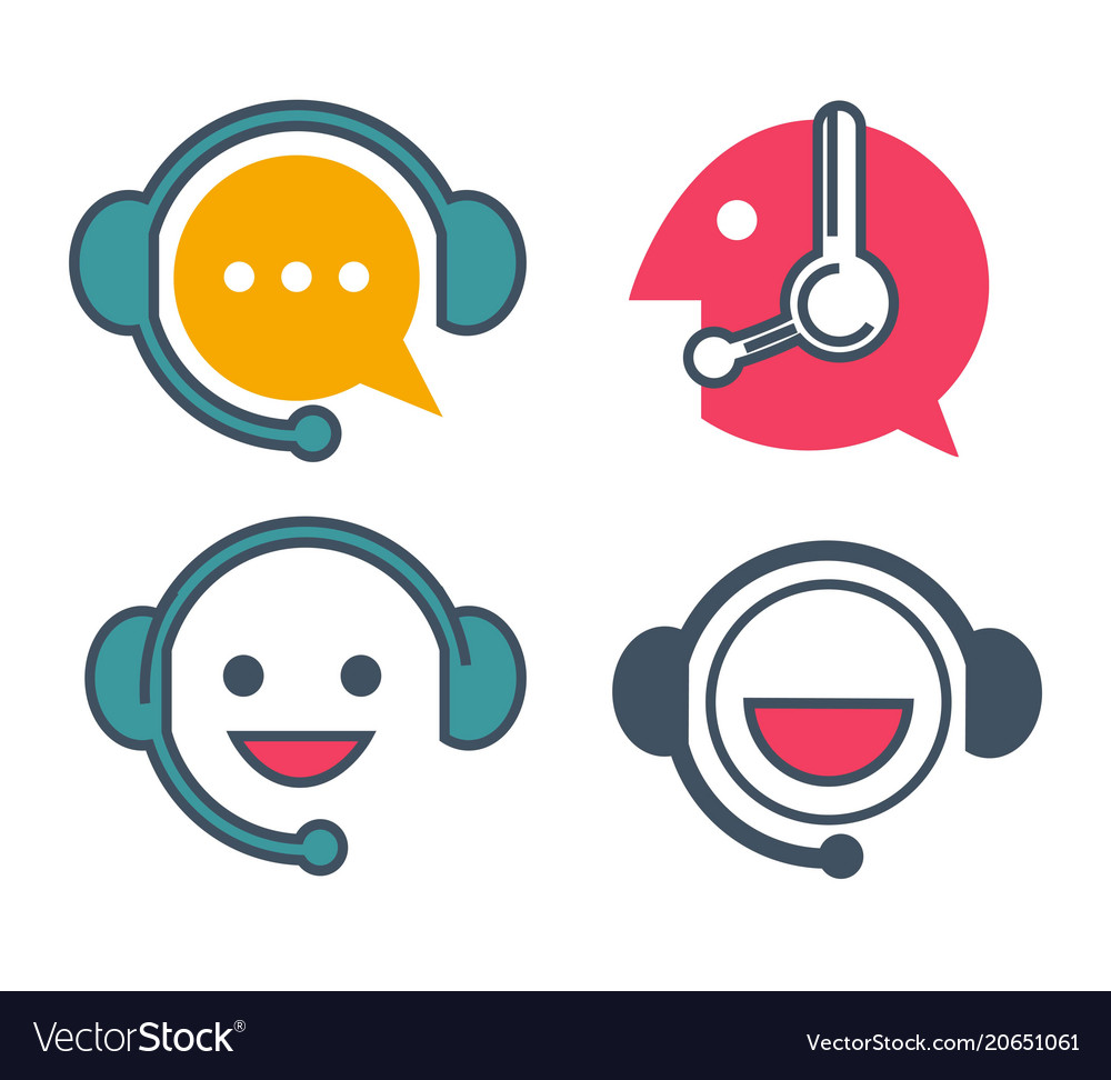 Customer support service online chat icons