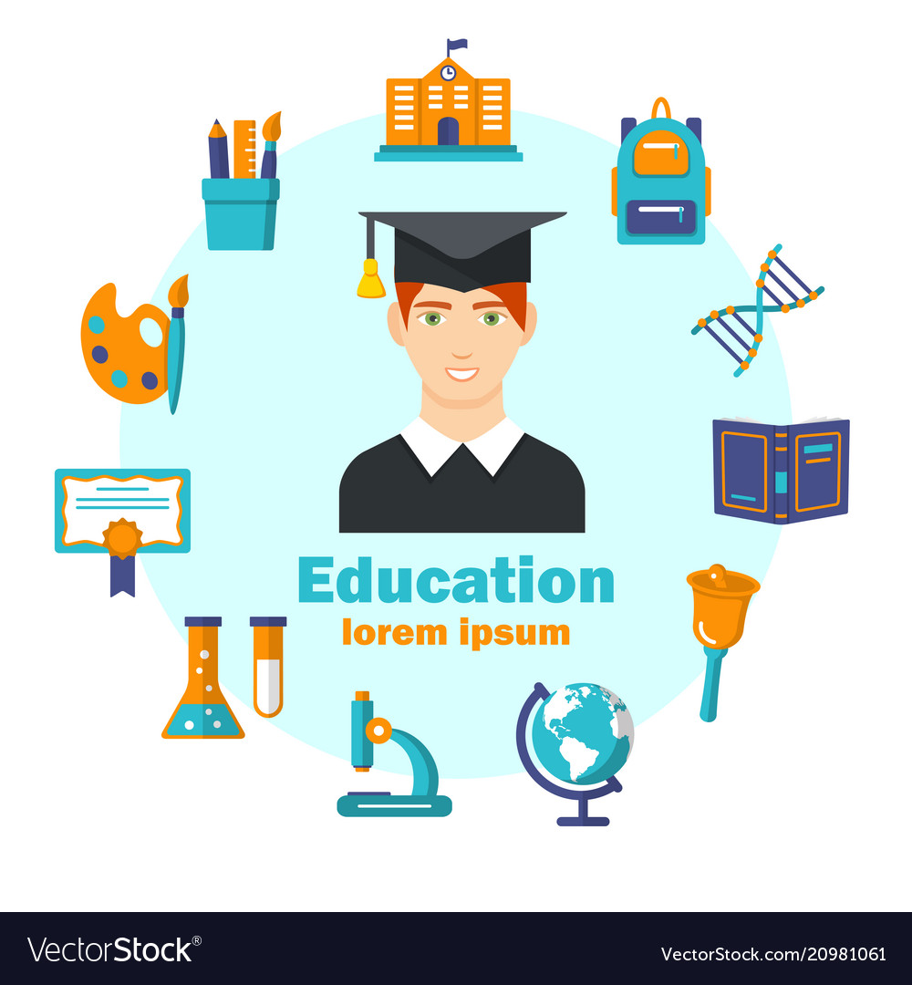 Education flat poster with colorful icons