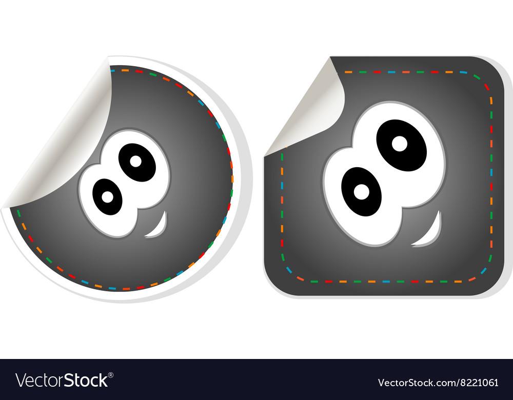 Eye Icon stickers set isolated on white