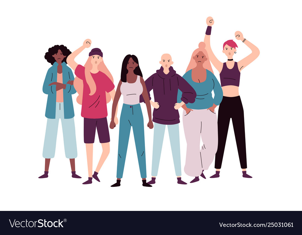 Group demonstrators female protesting for