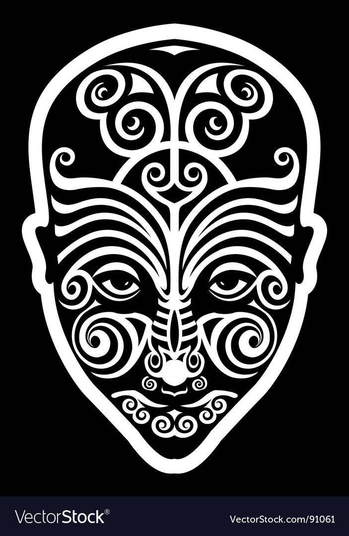 Maori face tattoo vector image