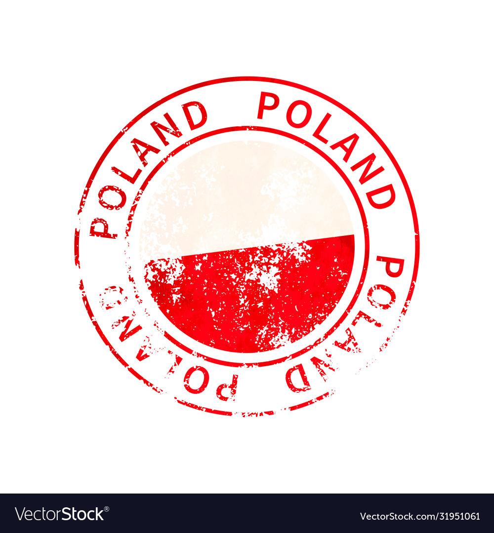 Poland sign vintage grunge imprint with flag on