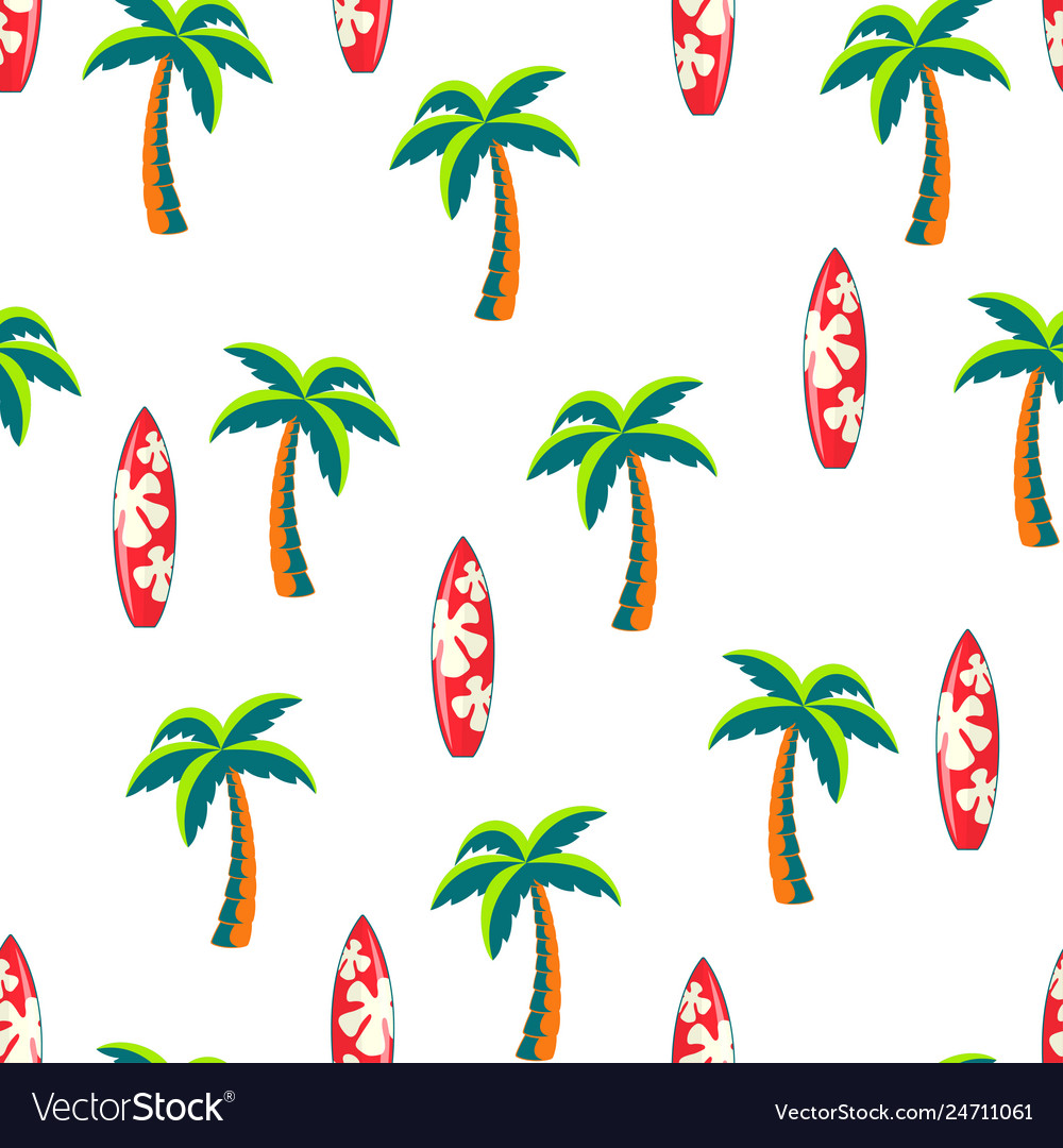 Seamless pattern surfboards and palm trees