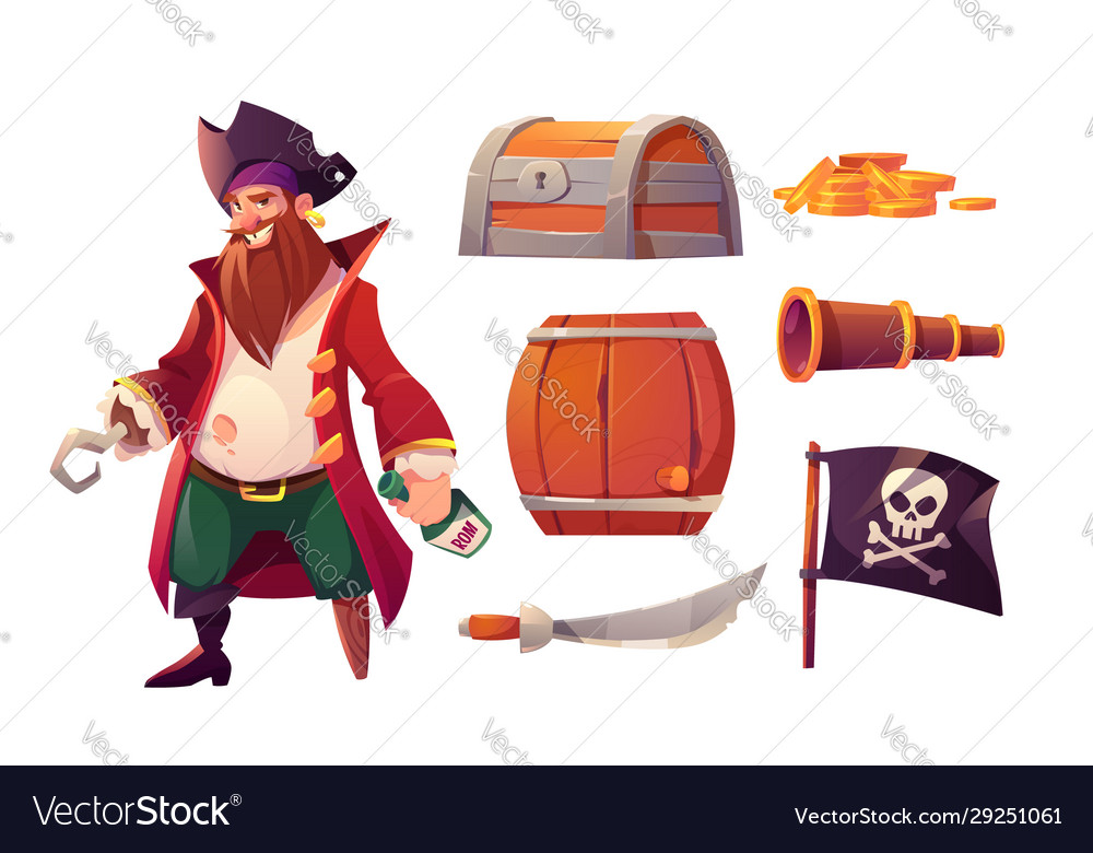 Set icons pirate and ship equipment