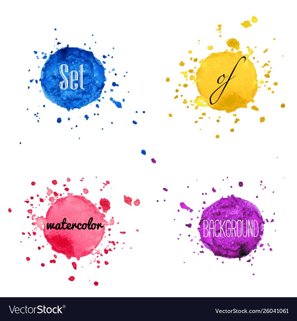 Set watercolor hand draw splash background