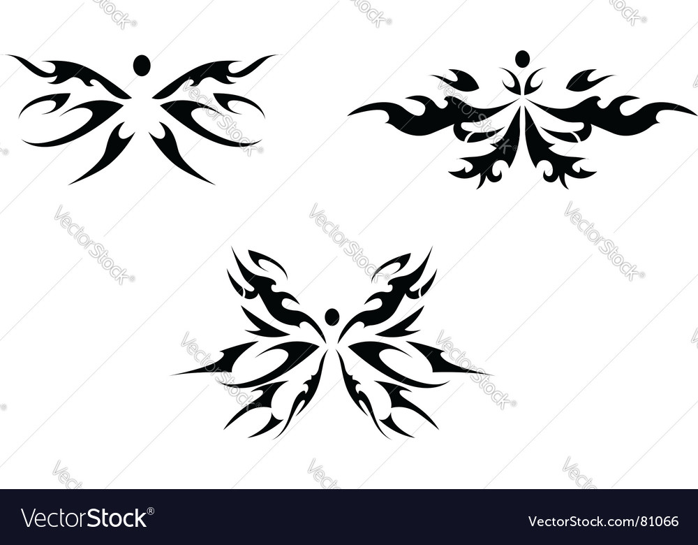 Abstract butterfly tattoo vector image