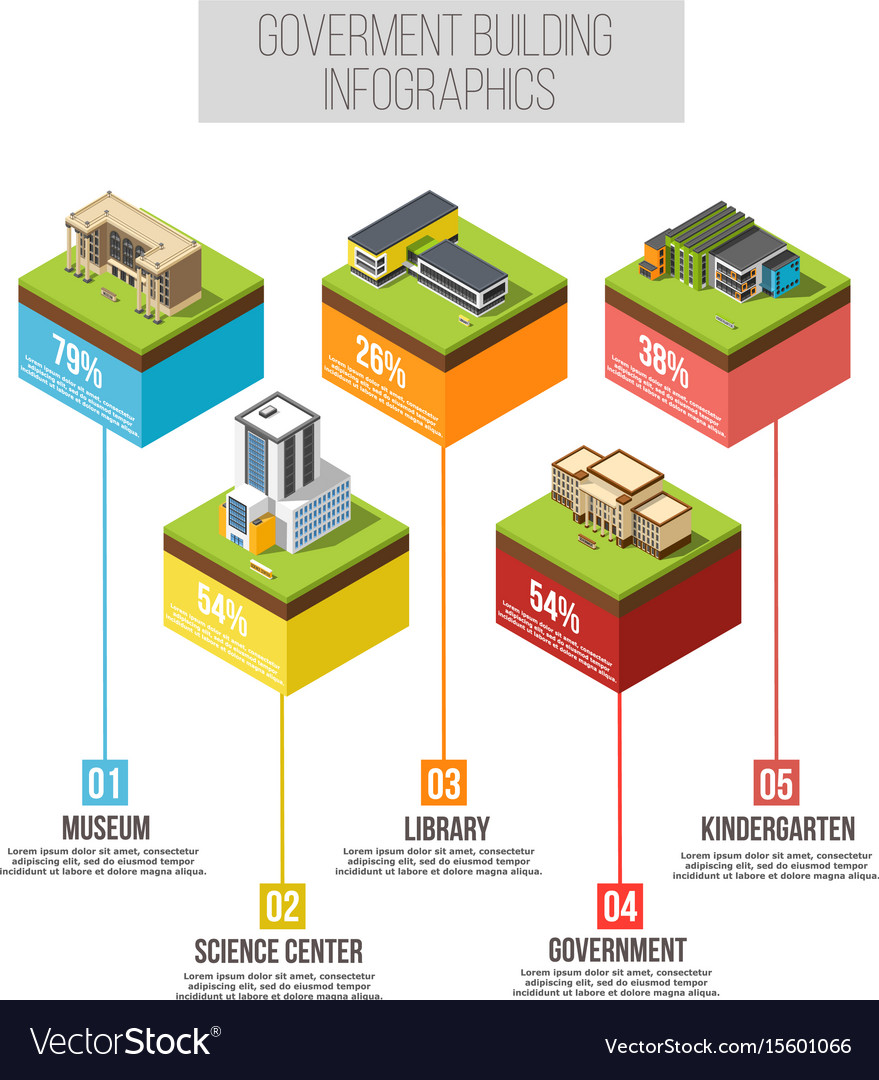 Administrative building isometric infographics