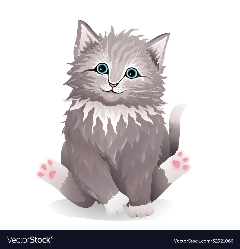 Adorable kitten fluffy curly pet realistic