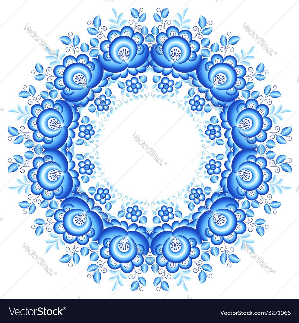 Blue floral round frame in gzhel style vector image