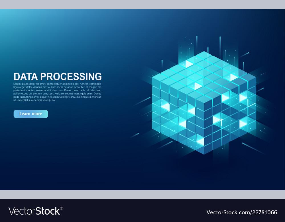 Concept of big data processing center cloud