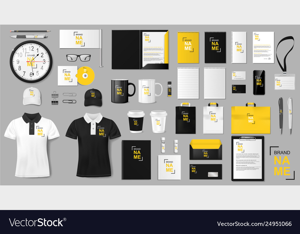 Corporate identity template design realistic