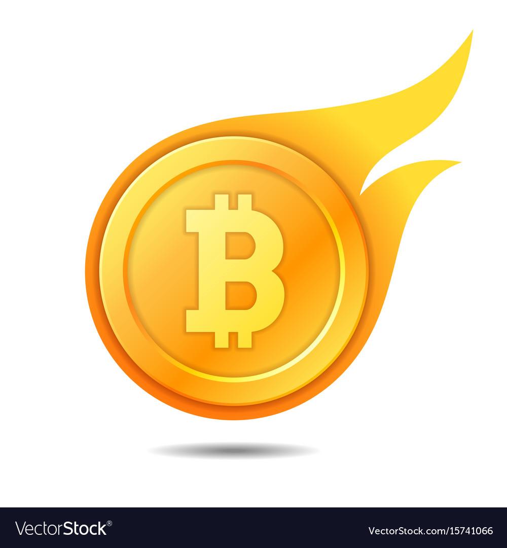 Flaming bitcoin symbol icon sign emblem