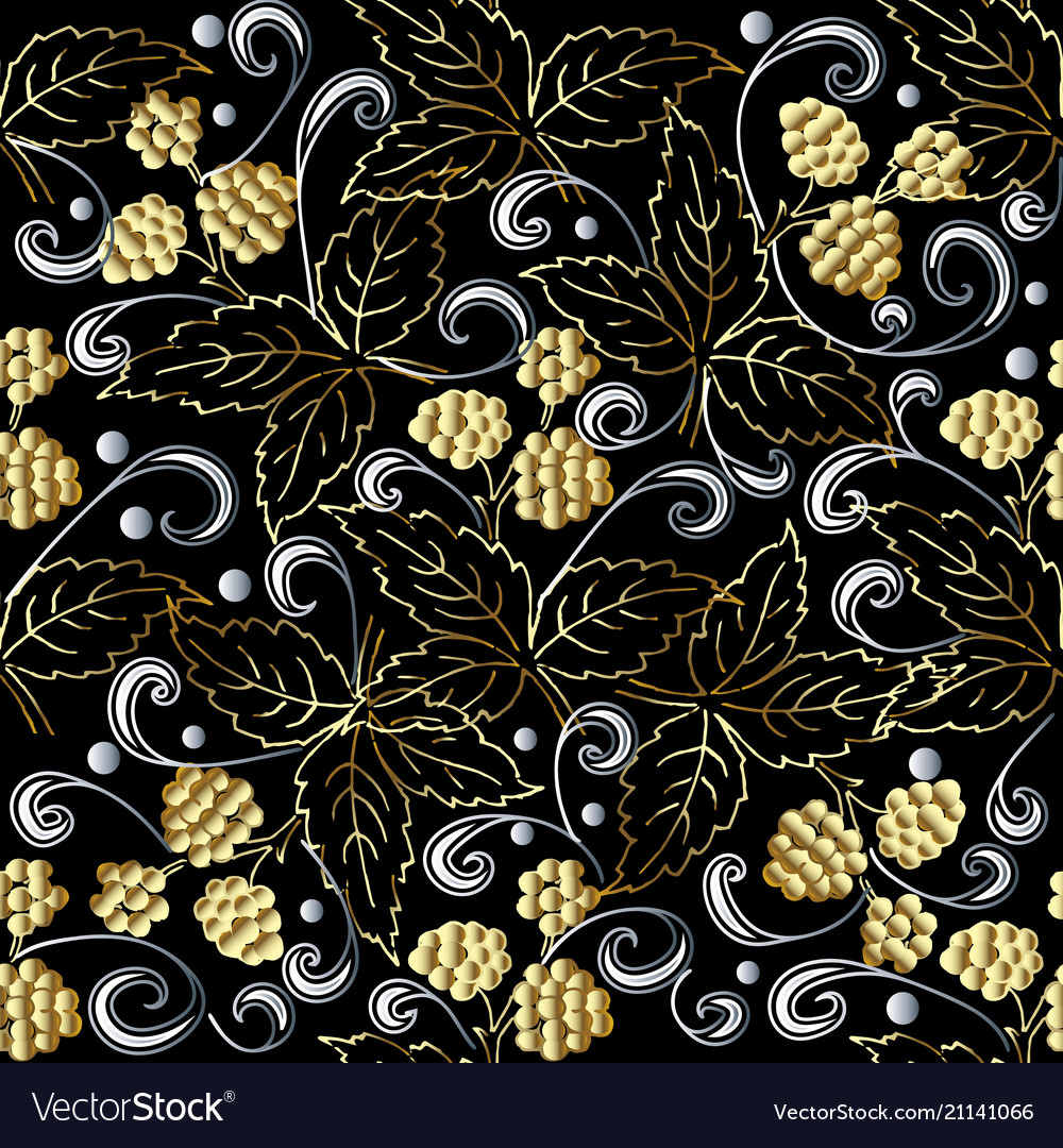 Gold 3d berries abstract seamless pattern