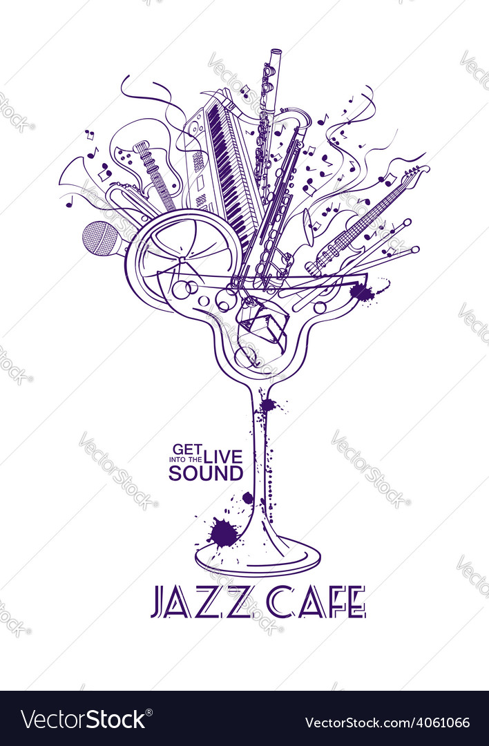 Jazz cafe concept with musical instruments in a