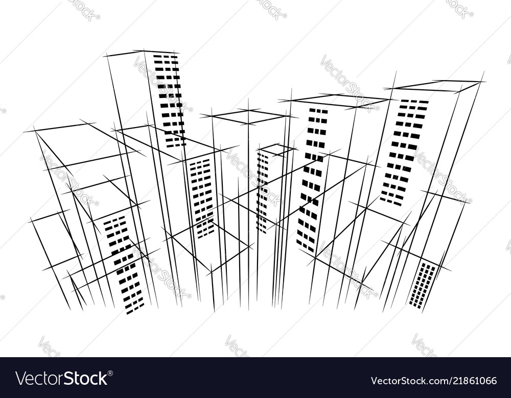 Modern dark city horizon scape sky scraper