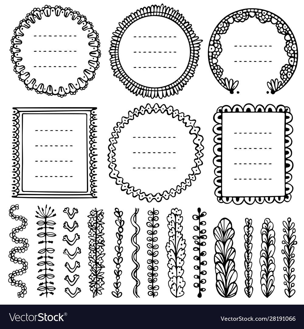Set black doodle frames vignettes