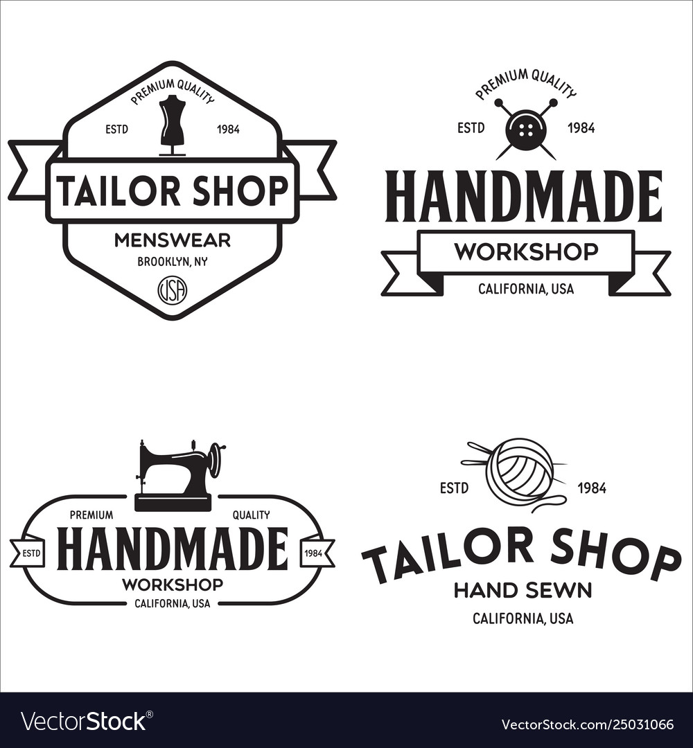 Set vintage sewing and tailor labels badges