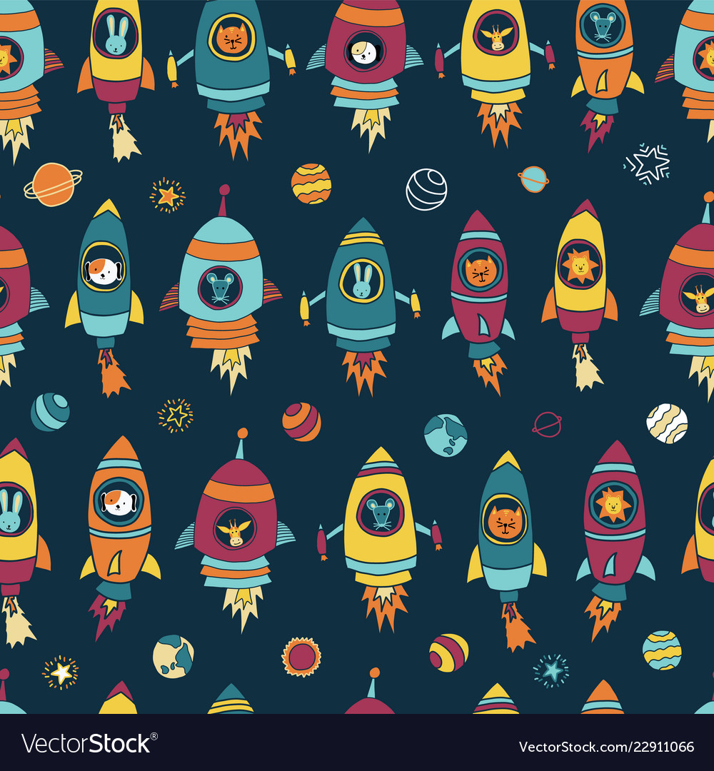 Space astronaut animals on blue seamless tile