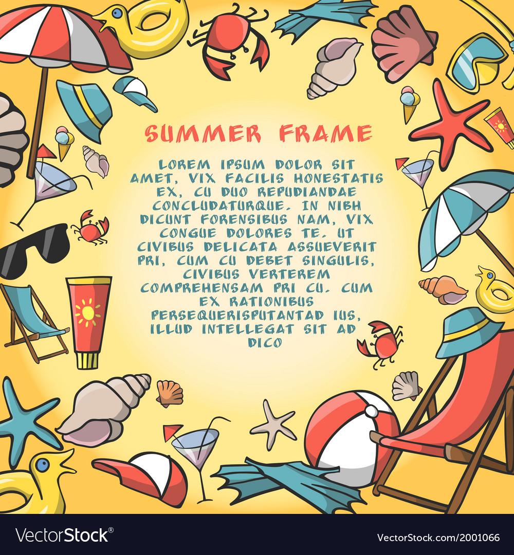 Summer vacation travel border frame template